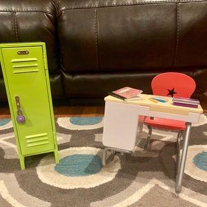 American Girl school desk, locker and accessories